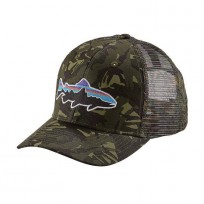 Patagonia Fitz Roy Trout Trucker Cap - Mid Crown - Fatigue Green