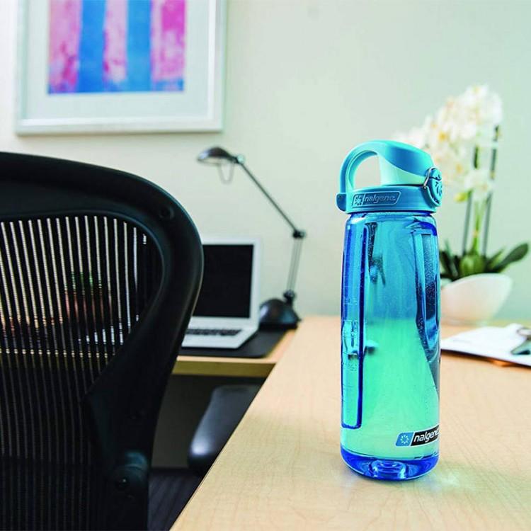 Nalgene OTF 650ml Drink Bottle - Clear with Blue Cap