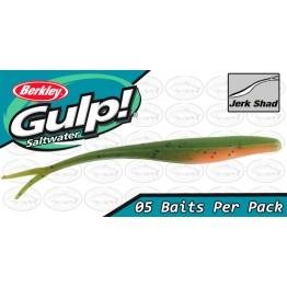 "Berkley Gulp Jerk Shad 5"" Lime Tiger Glow Softbait"