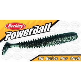 "Berkley Powerbait T-Tail Shad 2.5"" Black Silver Fleck Softbait"