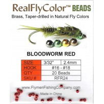 Brass Fly Tying Beads 2.4mm Bloodworm Red Pkt 20