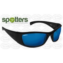 "Spotters ""Artic+"" Black Gloss Sunglasses & Polarised Ice Blue Mirror Lens"