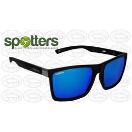 "Spotters ""Riot"" Black Matte Sunglasses & Polarised Ice Blue Mirror Lens"