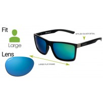 "Spotters ""Riot"" Black Matte Sunglasses & Polarised Ice Blue Mirror Lens"