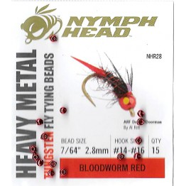 Tungsten Fly Tying Beads 2.8mm Bloodworm Red Pkt 15